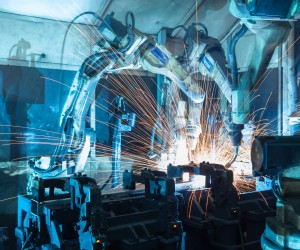 welding robots  the movement. In the automotive parts industry.